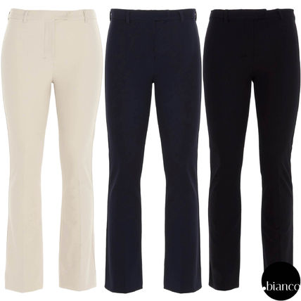 S Max Mara Nylon Plain Cotton Long Elegant Style Cropped & Capris Pants