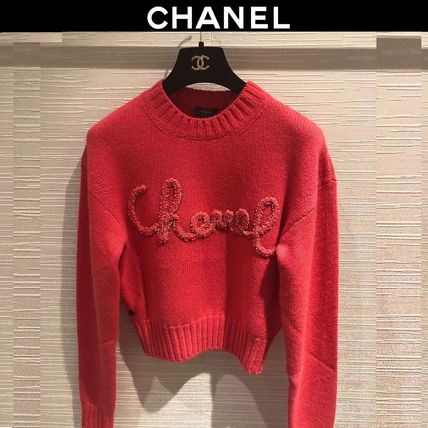 CHANEL Crew Neck Short Casual Style Long Sleeves Plain