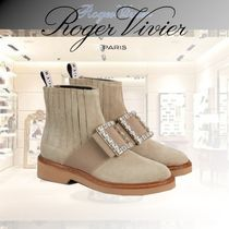 Roger Vivier Round Toe Rubber Sole Casual Style Suede Leather Party Style