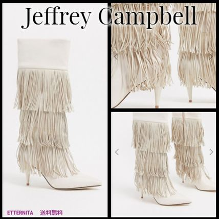 Casual Style Leather Pin Heels Fringes Boots Boots