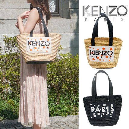 KENZO Dots Unisex Street Style Plain Leather Co-ord Logo