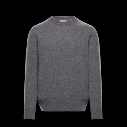 MONCLER Crew Neck Wool Long Sleeves Plain Logos on the Sleeves