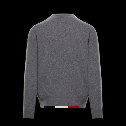 MONCLER Sweaters Crew Neck Wool Long Sleeves Plain Logos on the Sleeves 3