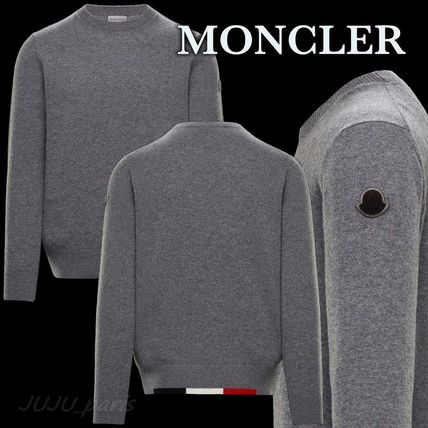 MONCLER Sweaters Crew Neck Wool Long Sleeves Plain Logos on the Sleeves