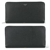 CELINE Zipped Calfskin Plain Folding Wallet Long Wallet  Logo Long Wallets