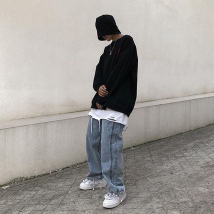 More Jeans Denim Street Style Plain Oversized Jeans 3