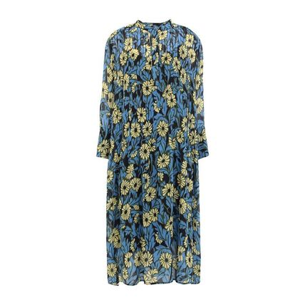 Flower Patterns Casual Style Cropped Medium Shirt Dresses
