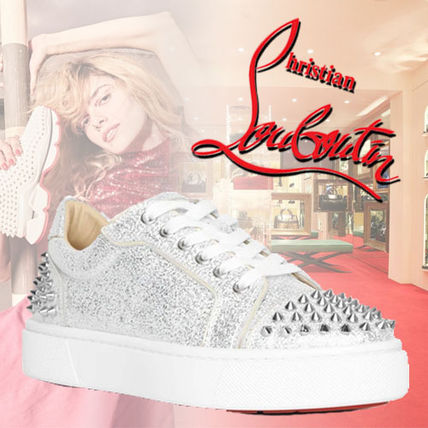 Christian Louboutin Studded Glitter Low-Top Sneakers
