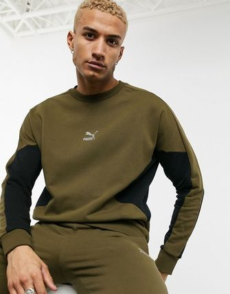 Unisex Street Style Khaki Co-ord Matching Sets Sweats
