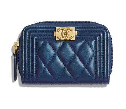 CHANEL BOY CHANEL Leather Small Wallet Logo Coin Cases