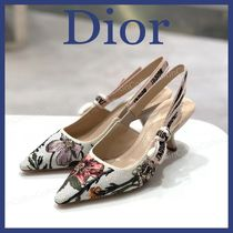 Christian Dior JADIOR Dots Formal Style  Pointed Toe Pumps & Mules