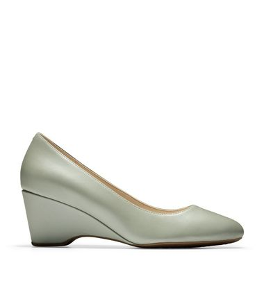 Cole Haan Plain Toe Plain Leather Office Style Wedge Pumps & Mules