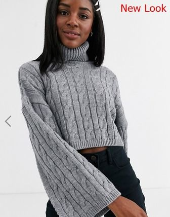 Cable Knit Short Long Sleeves Plain Puff Sleeves Cropped