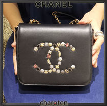 CHANEL ICON Heart Flower Patterns Casual Style Blended Fabrics 2WAY
