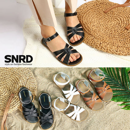 Round Toe Rubber Sole Casual Style Plain Leather Flip Flops