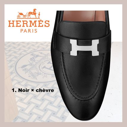 HERMES Paris Unisex Suede Velvet Leather Office Style Elegant Style
