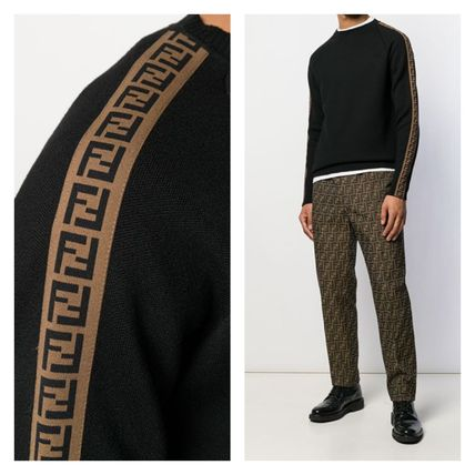 FENDI Sweaters Crew Neck Pullovers Wool Long Sleeves Logo Luxury Sweaters