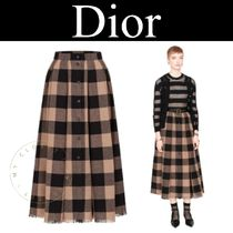 Christian Dior Other Plaid Patterns Casual Style Wool Street Style Long