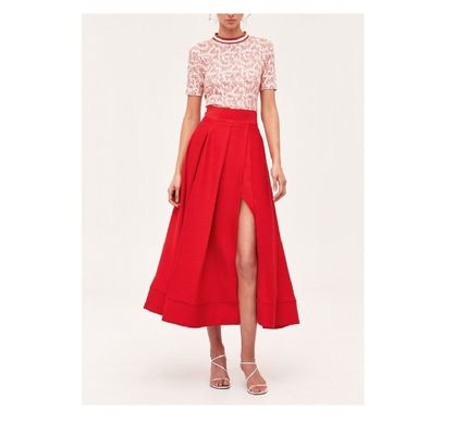 Casual Style Pleated Skirts Plain Medium Elegant Style