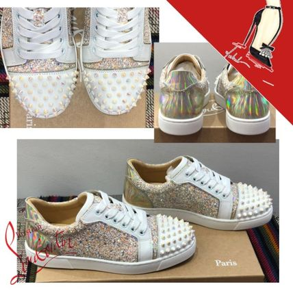 Christian Louboutin Round Toe Rubber Sole Casual Style Studded Leather Glitter