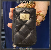 CHANEL ICON Unisex Calfskin Chain Plain Leather Long Wallet  Bridal