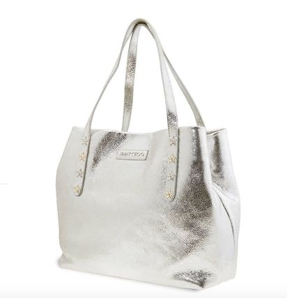Star Casual Style Studded Plain Office Style Logo Totes