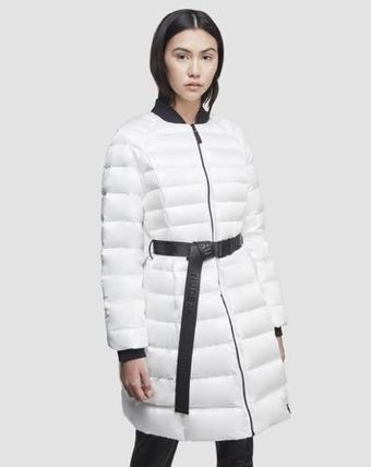 Nylon Street Style Plain Long Nylon Jacket  Down Jackets
