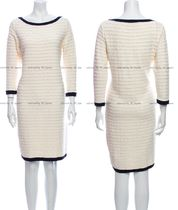 CHANEL TIMELESS CLASSICS CHANEL Ivory Cotton Cashmere Knit Dress Cardigan FR40