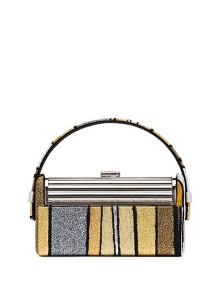 Stripes Party Style Elegant Style Metallic Handbags