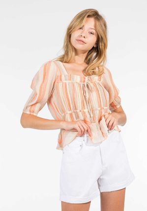 Stripes Casual Style Short Sleeves Shirts & Blouses
