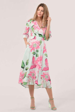 Wrap Dresses Flower Patterns Casual Style A-line Cropped