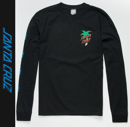 Crew Neck Street Style Long Sleeves Logos on the Sleeves