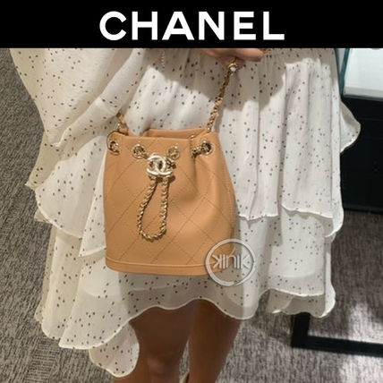 CHANEL 2WAY Plain Leather Elegant Style Crossbody Logo