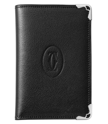 Cartier Unisex Street Style Plain Leather Logo Card Holders