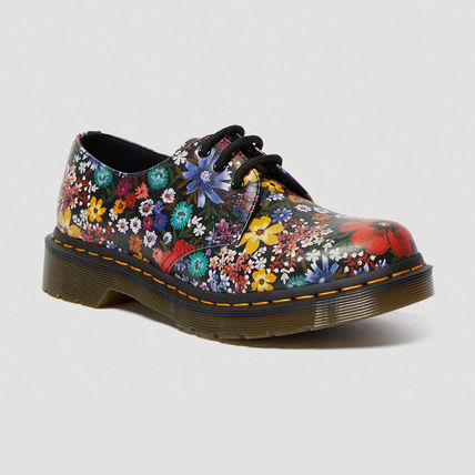 Flower Patterns Plain Toe Round Toe Lace-up Casual Style