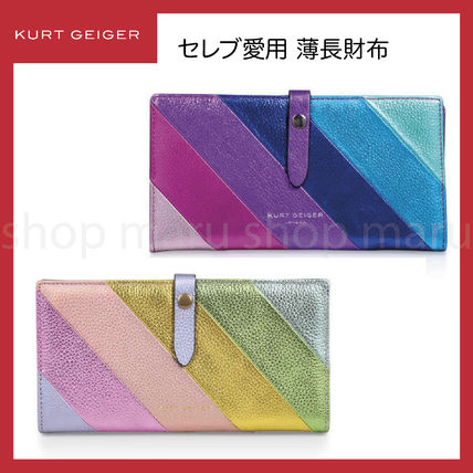 Stripes Street Style Leather Folding Wallet Logo Icy Color