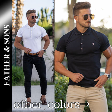 Father & Sons Polos Street Style Plain Short Sleeves Logo Polos