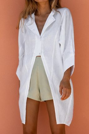Casual Style Linen Plain Cotton Long Oversized Front Button