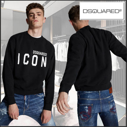 D SQUARED2 Crew Neck Long Sleeves Cotton Logo Luxury Sweaters