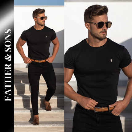 Father & Sons More T-Shirts Street Style Plain Short Sleeves Logo T-Shirts
