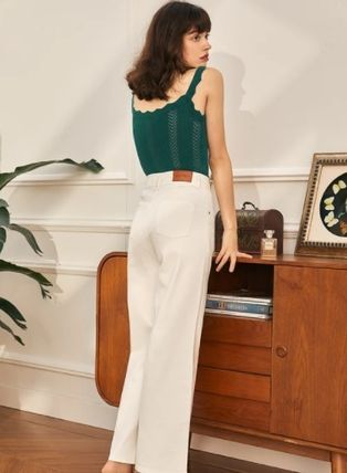 Simple Retro Plain Long Wide & Flared Jeans