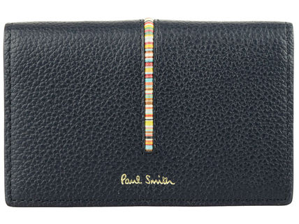 Paul Smith Unisex Plain Leather Folding Wallet Logo Card Holders