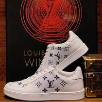 Louis Vuitton MONOGRAM Monogram Blended Fabrics Street Style Bi-color Logo Sneakers