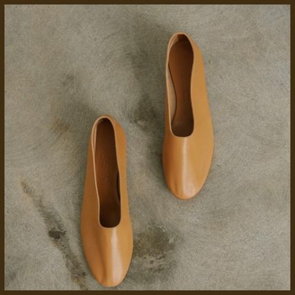Casual Style Plain Leather Flats