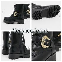 VERSACE JEANS Plain Toe Lace-up Casual Style Logo Lace-up Boots