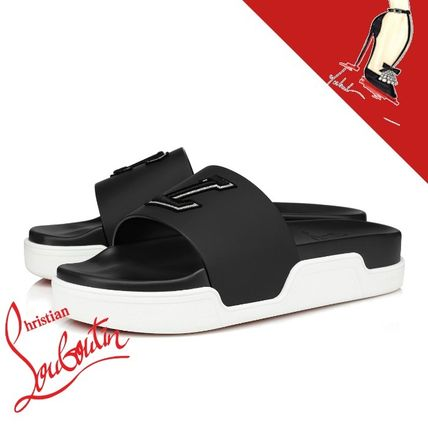 Christian Louboutin Plain Leather Sport Sandals Shower Shoes Logo Sports Sandals
