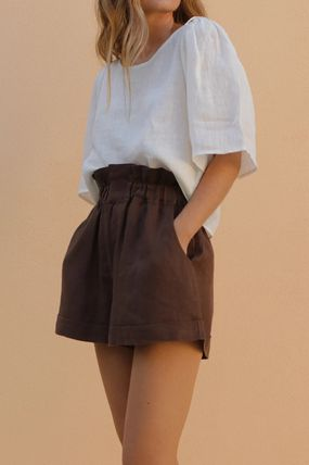 Casual Style Linen Plain Short Sleeves Elegant Style