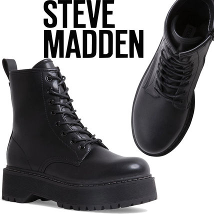 Steve Madden Platform Round Toe Lace-up Casual Style Plain Lace-up Boots