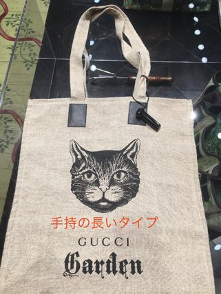 GUCCI Casual Style Unisex A4 Other Animal Patterns Logo Totes