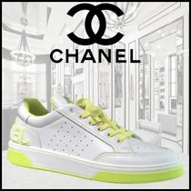CHANEL Unisex Blended Fabrics Street Style Bi-color Plain Leather